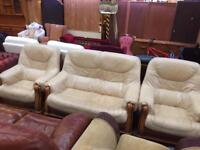 Cream leather 2 sester and chairs