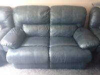 3 Piece Navy Blue Leather Suite