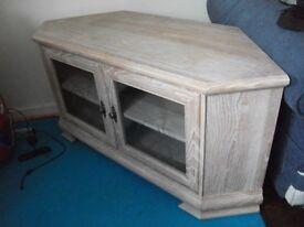 Limed Oak corner tv unit