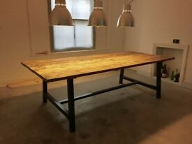Industrial Reclaimed Timber Scaffold Board Table. On Vintage, Box Steel Legs