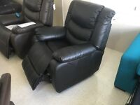 Brand New Black Top Grain Leather Electric Reclining Massage Chair