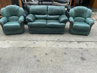 REAL LEATHER SOFA SET 2-1-1 SEATER IN GOOD CONDITION
