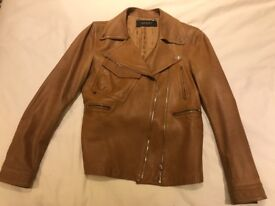 Ladies Gucci Brown Leather Jacket Size 38 S/M 10-12