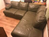 Real Leather unusual Olive Green corner suite sofa £280.00 or best offer.