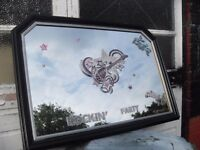 FABULOUS PUB MIRROR WITH ROCK n ROLL THEME MAHOGANY FRAME SIZE 41 X 29 INCHES CAN DELIVER