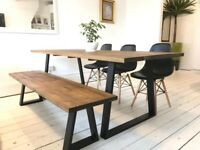ARTEMIS Handmade Steel Leg Dining Table Bench and Chairs Steel Trapezium Design Free Delivery