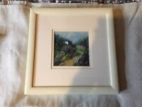 Painting of cottage in woods