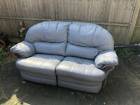 Blue leather Italian made recliner 2 seater sofa