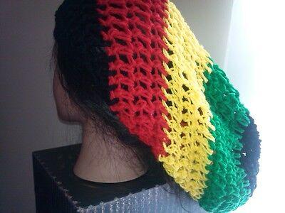 Oversized slouchy hat Rasta extra long red yellow green black reggae dreadlocks