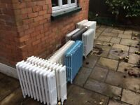10 Cast Iron Radiators - 600mm high; 4 columns wide; varying lengths 10-18 sections