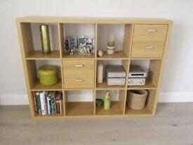 Oak effect wall storage unit