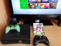 Xbox 360 Slim console 250GB, black with 2 controllers, leads and Fifa 16 Game