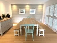 Smooth AB Grade Modern Oak Farmhouse Kitchen Dining Table Set with Benches and Chairs Free Delivery