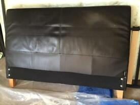 Faux Brown Leather Double Bed Base 4'6