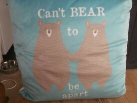 teal cushion can't bear to be apart logo