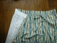Good used condition pair of green, blue cream Tape topped curtains 66x54 inches