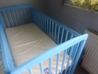 Brighton Cot -Blue for Baby Boys with matress