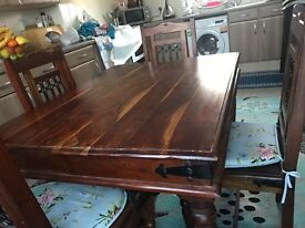 Mahogany Hard Wood Table And Chairs