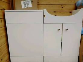 Bathroom cabinets, basin, sink and concealed cistern