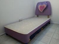 Purple/pink girl's bed (frame, headboard, storage)