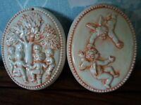 Vintage Cherub Plaques