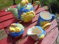 Tea Pot Milk Jug Sugar Bowl Summer Set - Ceramic