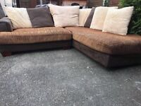 CORNER SOFA L SHAPE VELVET SUEDE MATERIAL VERY COMFY & SMOOTH SOFT WOODEN FEET DELIVER FREE MCR NEAR