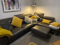 Corner Sofa - Modern Leather with Power Recliners