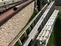 alloy ladders double 15 rung great for gutter work heavy duty, clean set