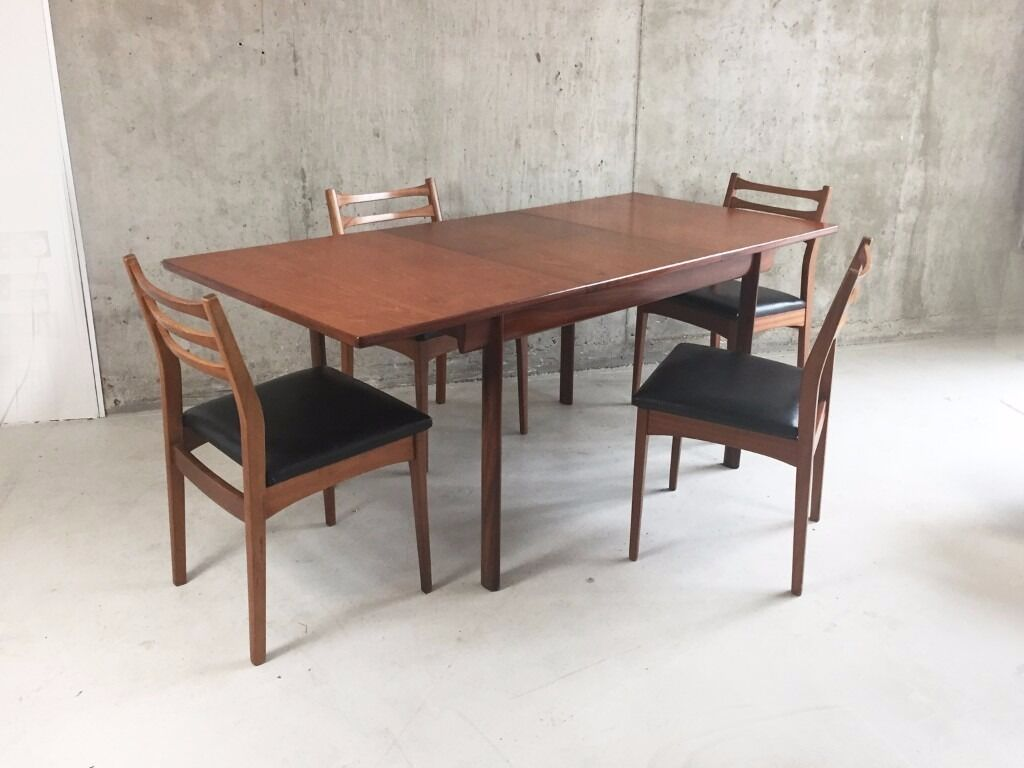 1970s Mid Century White And Newton Dining Table 4 Chairs