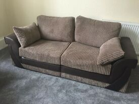 Brand new 3 and 2 seater fabric sofa in beige and brown