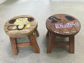 2 wooden stools childrens