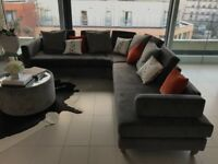 As New, 6 Seater, Corner Sofa, Slate Grey