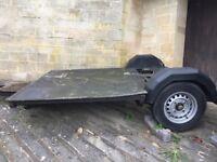Large flat bed trailer