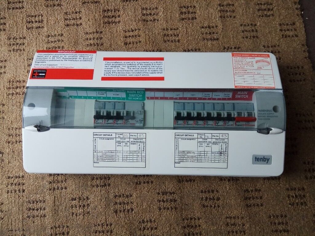 Tenby Modern Fuse box w/ 80A 30mA RCD & Double / Single Pole Incomer Switch