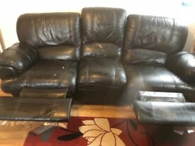 3+2 seater black leather reclining sofas