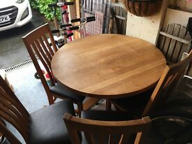 Solid Oak Round Table & 4 Chairs