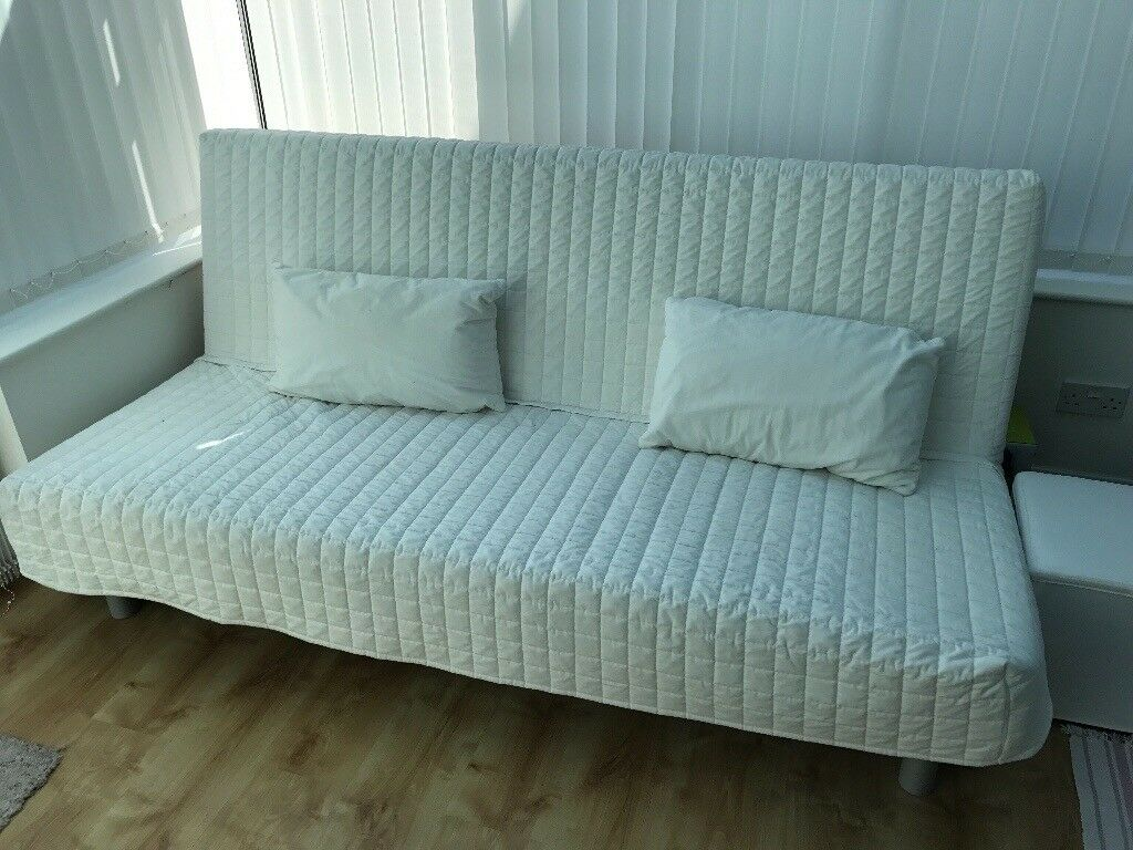 futon sofa bed ikea beddinge white quilted in loughton essex gumtree. Black Bedroom Furniture Sets. Home Design Ideas