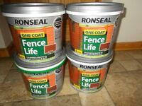 4 x Ronseal One Coat Fence Life Red Cedar 5 litres pots