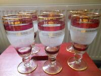 Glasses Challice Red & Gold Stemmed Set of 6 Vintage