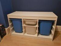 Ikea White Storage Unit with boxes