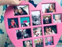 Pink heart phot frame
