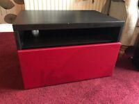 Red & dark wood TV Unit