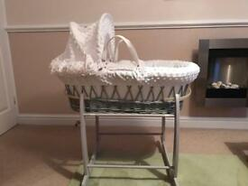 Clair de Lune grey wicker Moses basket and rocking stand