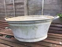 Vintage Galvanised Baby Bath Dolly Tub / Garden Planter