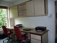 home office quality furniture (matching large desk, floor and wall cupboards, shelving)