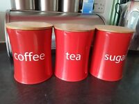 Red coffee sugar tea pots