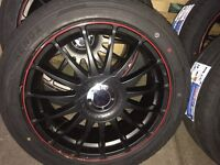 ALLOY WHEELS. X4 BRAND NEW 5 STUD WITH BRAND NEW TYERS