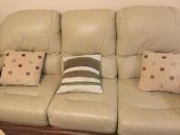 Cream Italian leather sofa