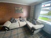 Grey/black scatter back corner couch